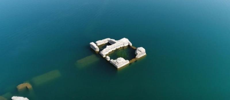 Hazar Gölü'nde su seviyesi düştü, 'Batık şehir' ortaya çıktı