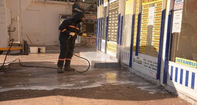 Otogarda dezenfekte çalışmaları
