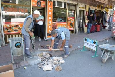 Ergani Belediyesi kaldırım çalışmalarına başladı